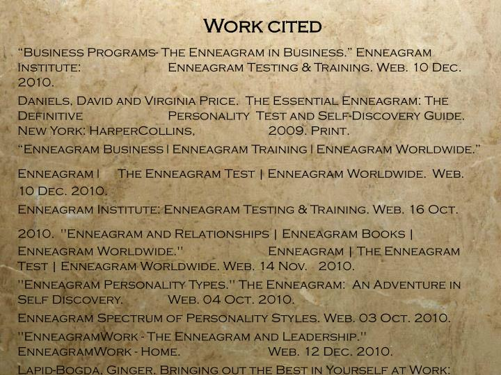 """Business Programs- The Enneagram in Business."" Enneagram Institute: 		Enneagram Testing & Training. Web. 10 Dec. 2010."