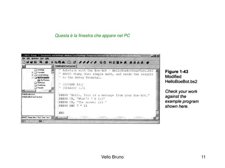 Questa è la finestra che appare nel PC