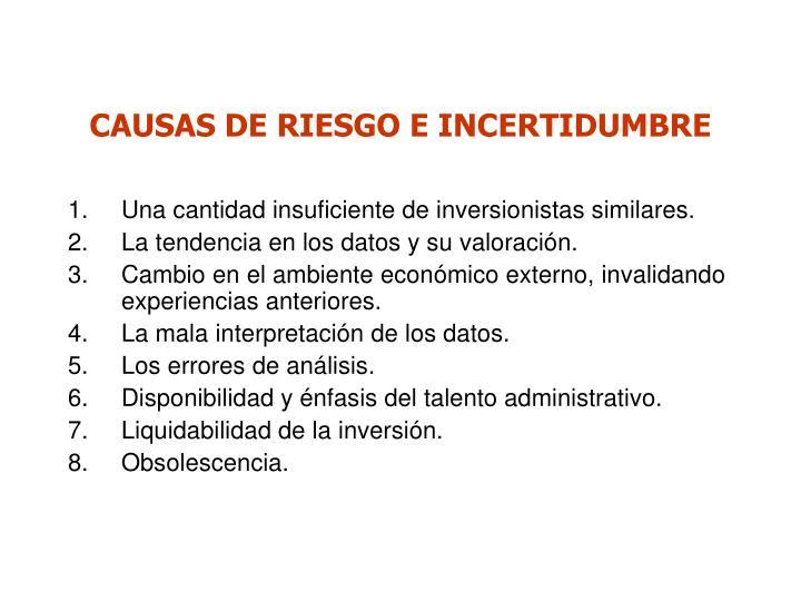 CAUSAS DE RIESGO E INCERTIDUMBRE