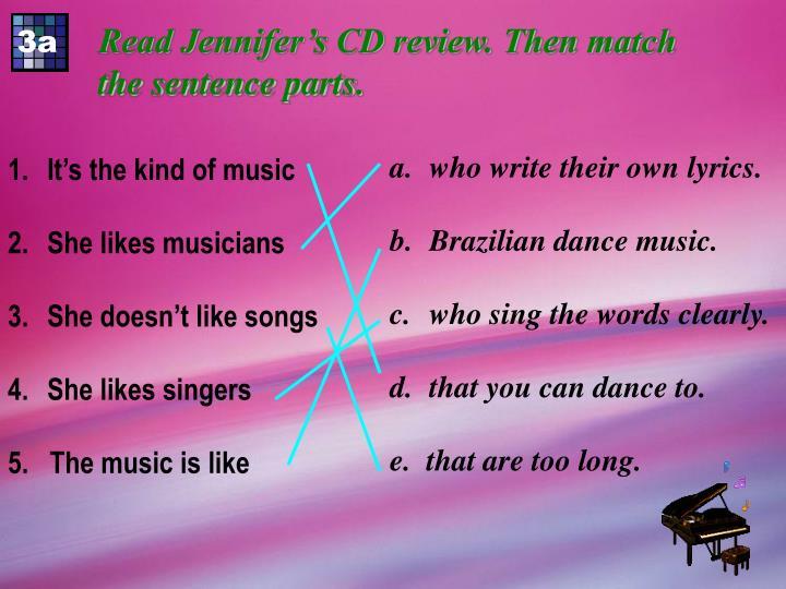 Read Jennifer's CD review. Then match