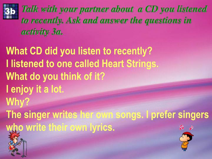 Talk with your partner about  a CD you listened