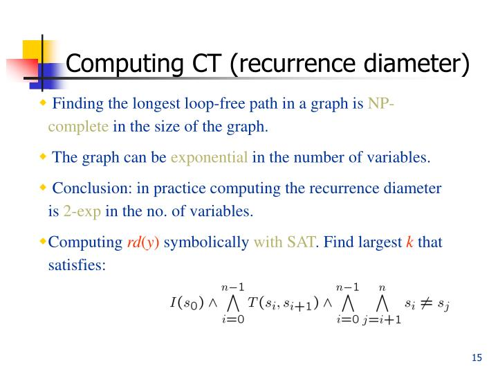Computing CT (recurrence diameter)