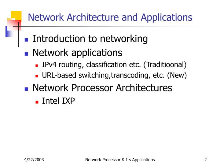 Network Architecture and Applications