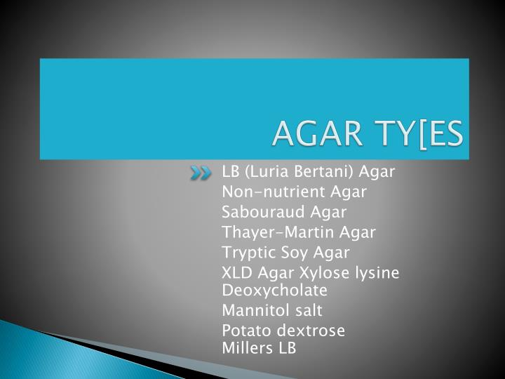 AGAR TY[ES