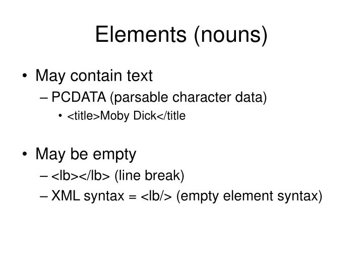 Elements (nouns)