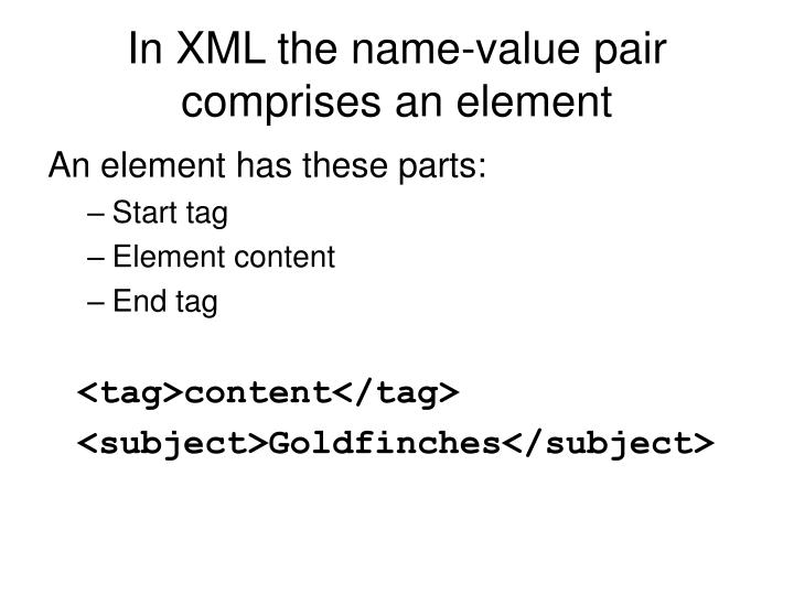 In XML the name-value pair comprises an element