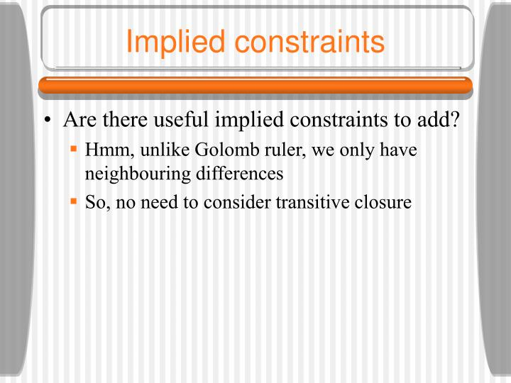Implied constraints