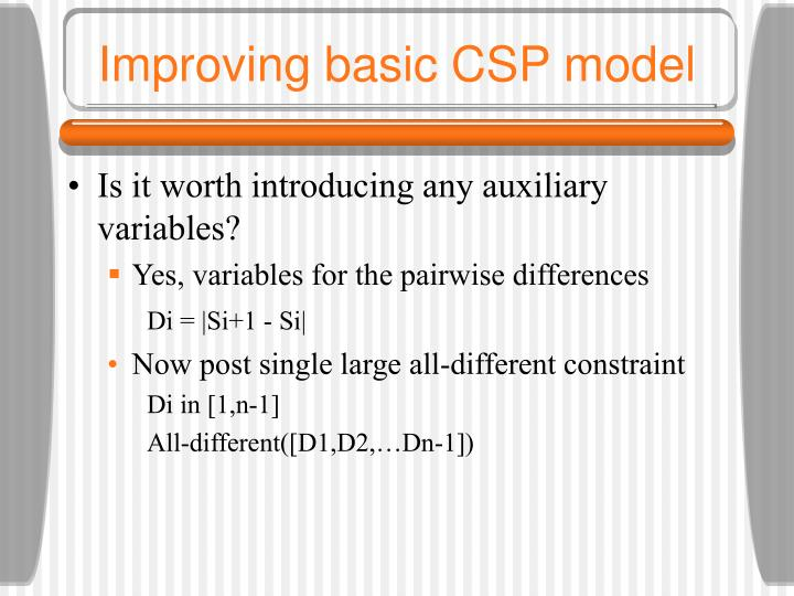 Improving basic CSP model