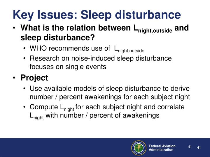 Key Issues: Sleep disturbance