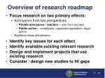 overview of research roadmap