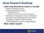 sleep research roadmap