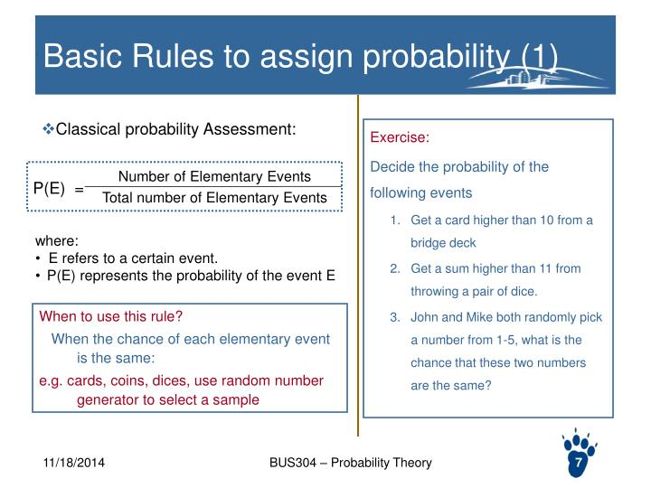 Classical probability Assessment: