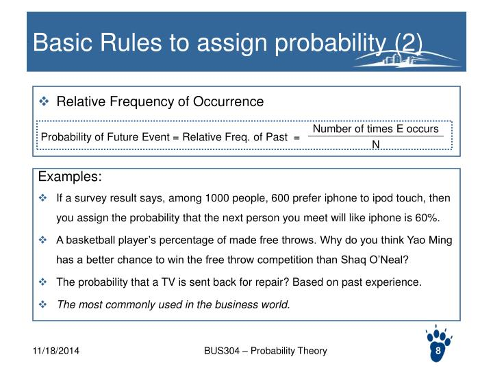 Basic Rules to assign probability (2)