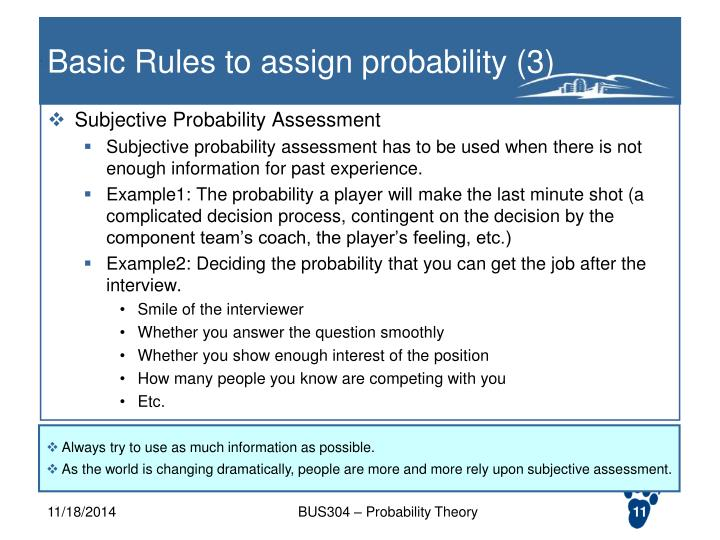 Basic Rules to assign probability (3)