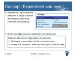 concept experiment and event