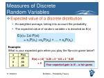 measures of discrete random variables