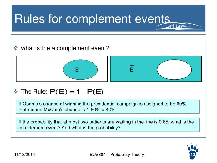 Rules for complement events
