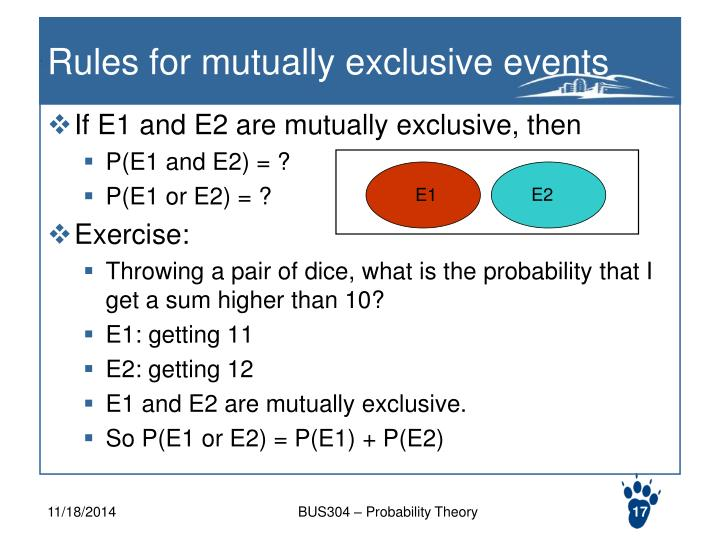 Rules for mutually exclusive events
