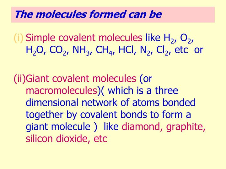 Simple covalent molecules