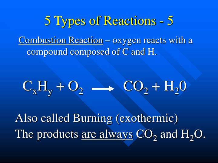 5 Types of Reactions - 5