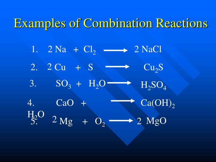 Examples of Combination Reactions