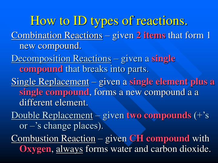 How to ID types of reactions.