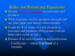 rules for balancing equations