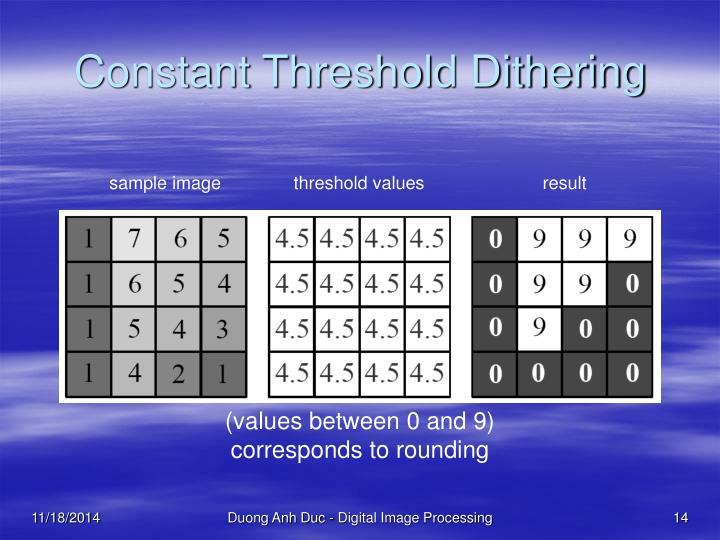 Constant Threshold Dithering