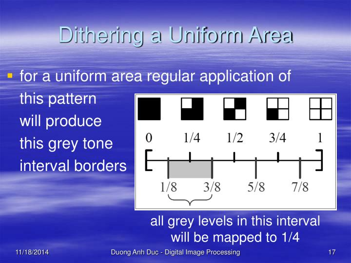 Dithering a Uniform Area