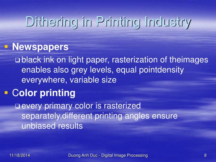 Dithering in Printing Industry