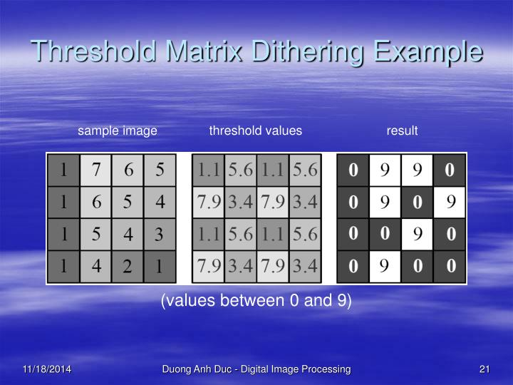 Threshold Matrix Dithering Example