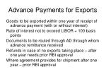 advance payments for exports