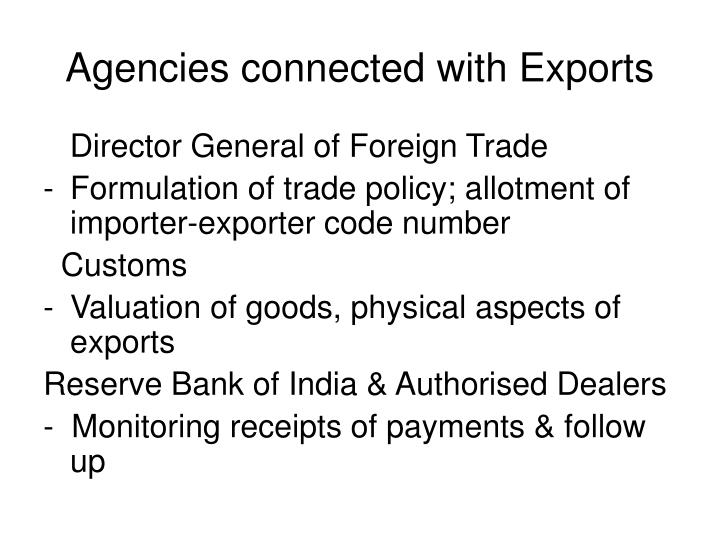 Agencies connected with Exports