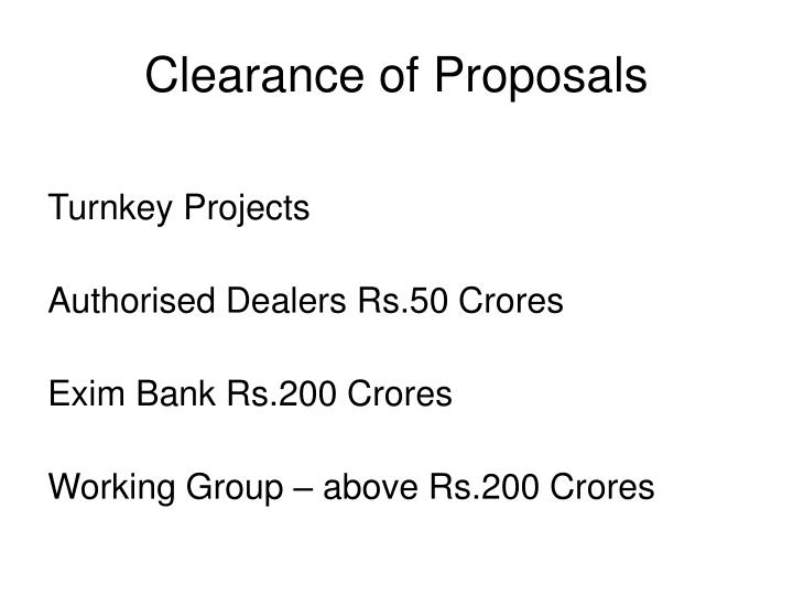 Clearance of Proposals