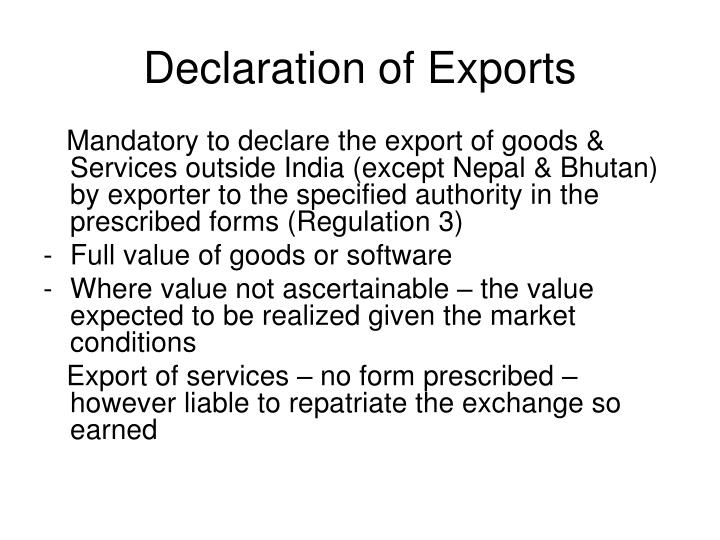 Declaration of Exports
