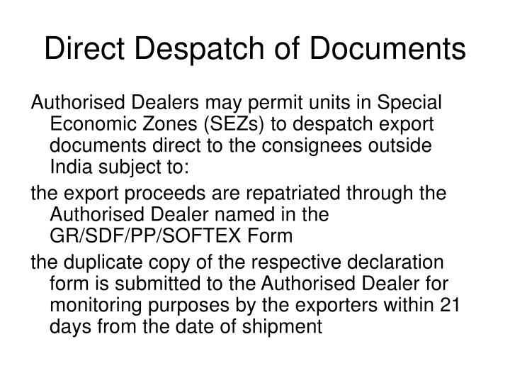 Direct Despatch of Documents