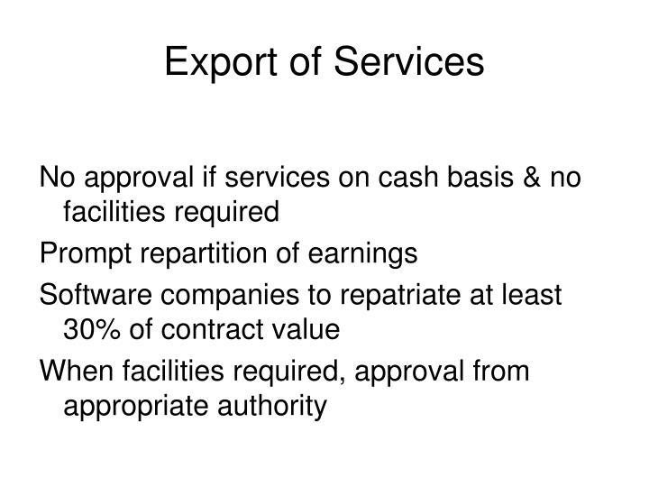 Export of Services