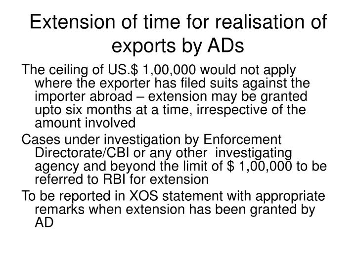 Extension of time for realisation of exports by ADs