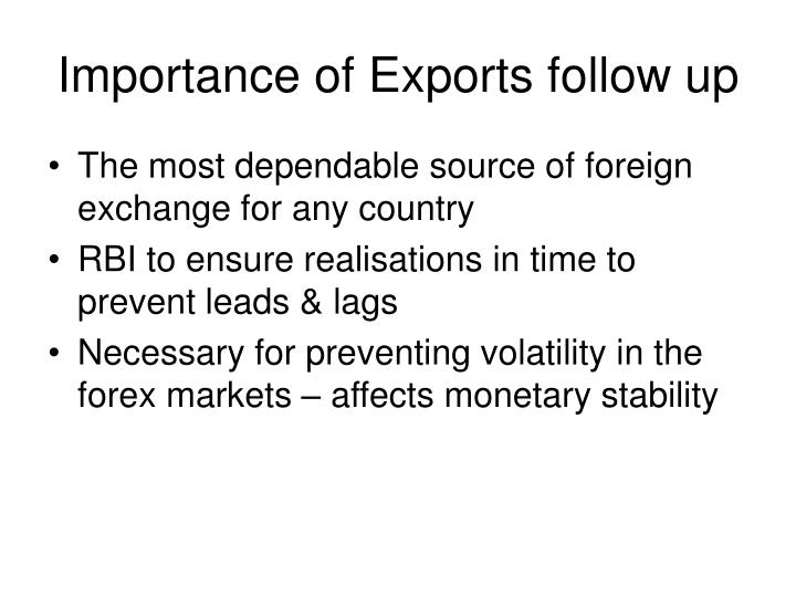 Importance of exports follow up