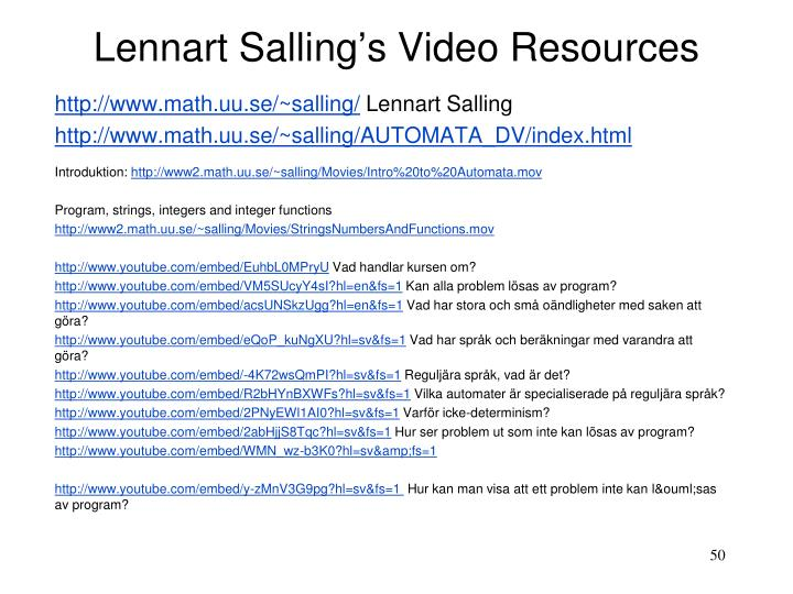 Lennart Salling's Video Resources