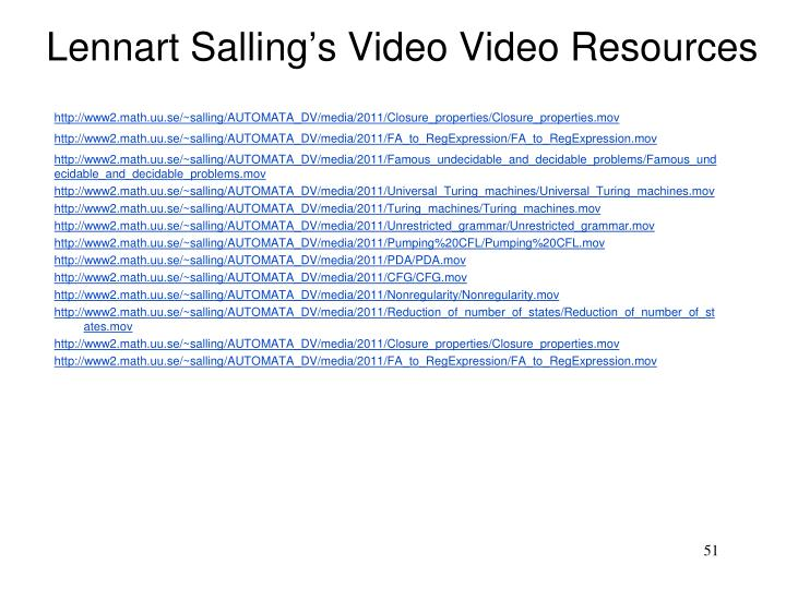 Lennart Salling's Video Video Resources