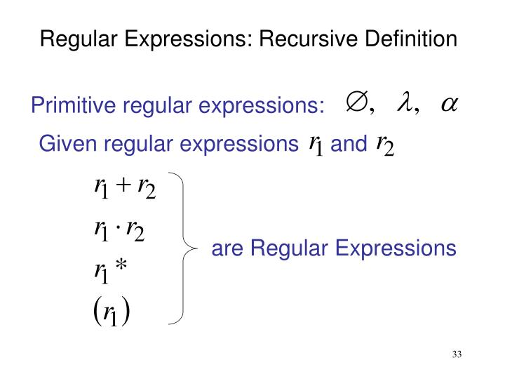 Primitive regular expressions: