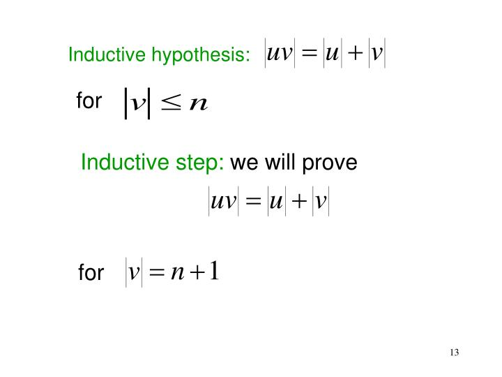 Inductive hypothesis:
