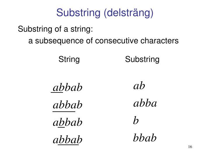 Substring (delsträng)