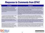 response to comments from efac