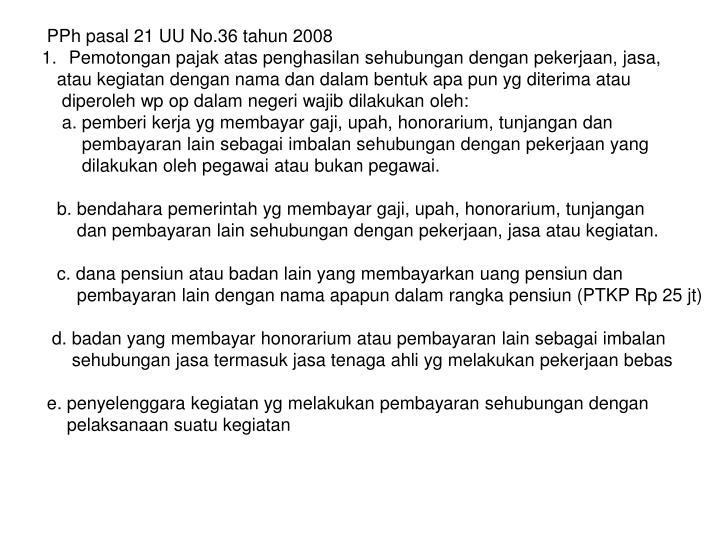PPh pasal 21 UU No.36 tahun 2008