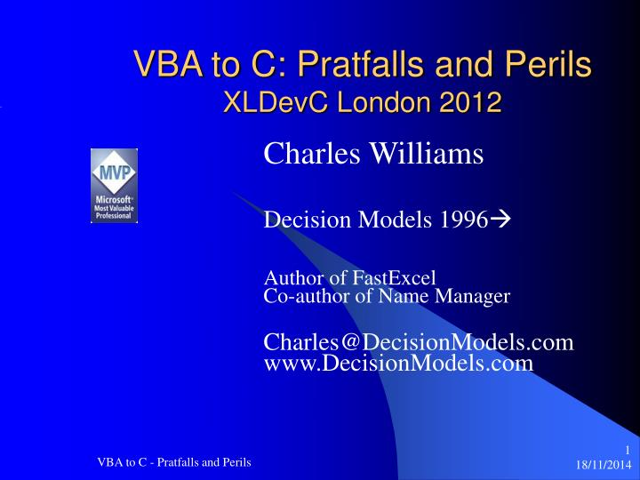 Vba to c pratfalls and perils xldevc london 2012