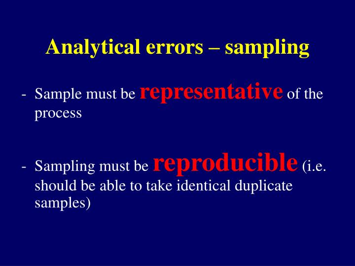 Analytical errors – sampling