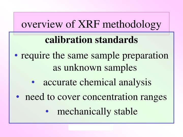 overview of XRF methodology