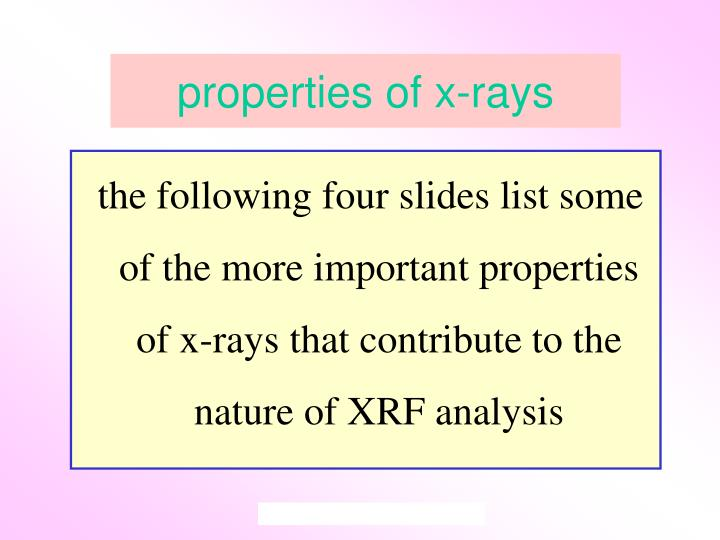properties of x-rays